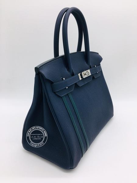 155560b860 Hermes Birkin 30cm Bleu Nuit/Vert Cypress Officier Togo/Swift PHW ...