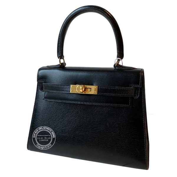 216271c7d8 Hermes Kelly 20cm Black Box GHW - Vintage - Lilac Blue