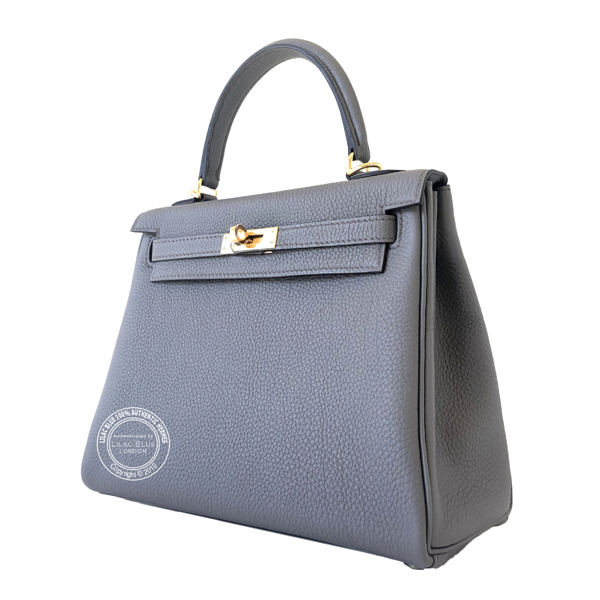 370e3c78fcac Hermes Kelly 25cm Etain Togo GHW - Lilac Blue