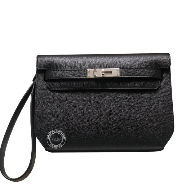 Hermes Kelly Depeche Pochette 25cm Black Epsom PHW